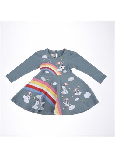 Deco Deco Kız Gökkuşağı Baskı Elbise-Mint Yeşili Deco Kız Gökkuşağı Baskı Elbise-Mint Yeşili Renkli